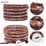 KELITCH bracelets <b>Jewelry</b> Bright Crystal Natural Stone bracelets Beaded Leather Chain Wrap <b>Handmade</b> Weave Friendship Bracelet