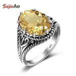 Szjinao Antique Vintage Oval Crystal Citrine 925 Sterling <b>Silver</b> Rings For Women Finger <b>Jewelry</b> Wedding Fashion Accessories