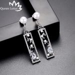 Queen Lotus Women Geometric Dangle Earrings Pearl Flower Baroque Earrings Luxury Crystal Long Drop Earrings <b>Jewelry</b> Female Gifts