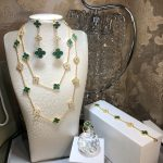 Hot Brand 925 Sterling Silver Wedding <b>Jewelry</b> Set For Women Gold Color <b>Necklace</b> Green Clover Leaf <b>Necklace</b> Earrings Bracelet Set