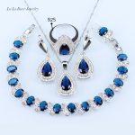 L&B Dark Blue Crystal Jewelry Sets White zircon <b>silver</b> Color 925 Logo jewelry Water Drop <b>Bracelets</b>/Earrings/Necklace/Ring