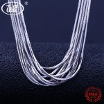WK 5 10 20 50 100 PCS Lot <b>Silver</b> 925 Snake Chain 0.8MM With Lobster Clasp Women Chain <b>Necklace</b> Jewelry Wholesale Lots Bulk NA003