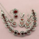 Classic New Top Heart Five Colors Crystal <b>Silver</b> Color Jewelry Sets For Women Drop Earrings <b>Bracelet</b> Necklace Ring Free Gift Box