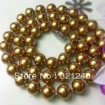 Factory price hot sale 10mm blue round shell simulated-pearl beads rope necklace elegant party gift <b>jewelry</b> <b>making</b> 18inch MY2037