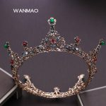 New Queen's Green red crystal bride <b>wedding</b> hair accessories for women gown black round crown ornament hair <b>jewelry</b> HD177