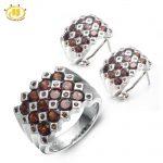 Hutang Stone Jewelry Sets Real Garnet Gemstone Solid 925 Sterling <b>Silver</b> Flower Fine Jewelry Ring & <b>Earrings</b> Women's Gift New