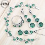 Green Stones White Zircon Women Silver 925 <b>Jewelry</b> Sets Earrings/Pendant/Necklace/Rings/Bracelets For Bridal Set Free Box