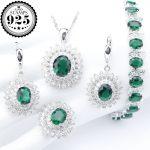 Green Zirconia Silver 925 <b>Jewelry</b> Sets Costume Women Stones Bracelets Earrings Rings Pendant <b>Necklace</b> Set Jewellery Gift Box