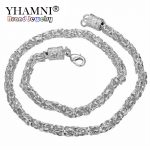 YHAMNI Hot Sale Trendy Men's 925 Sterling <b>Silver</b> Statement <b>Necklace</b> Chain Fashion Tube Beads Chain <b>Necklace</b> For Men N048
