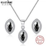 ELESHE <b>Wedding</b> Bridal <b>Jewelry</b> Set Solid 925 Sterling Silver Black Crystal Waterdrop Stud Earrings Necklace Bridal <b>Jewelry</b> Set
