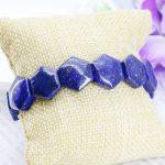 Accessory Crafts Parts Lapis lazuli Hexagonal Hand Chain Bracelet Crafts Beads Stone <b>Making</b> <b>Jewelry</b> 18cm Fitting Female Fitting