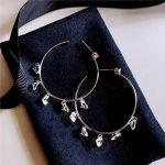 <b>Fashion</b> Big Hoop Earrings Cubic Zirconia dot beaded chandelier earrings Round Statement earrings Women <b>Jewelry</b>