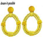 Dream-it-possible nice personality good quality fancy big Bohemian <b>handmade</b> rope with bead hoop earring <b>jewelry</b> 2018 charm