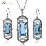 Luxury Jewelry Vintage 925 Sterling <b>Silver</b> Sets Big Blue Rhinestone Crystal Wedding Party Pendant &<b>Earrings</b> Set For Women Female