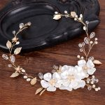 Trendy Gold Crystal Flower Headband tiara For Women Hair <b>Jewelry</b> Handmade Pearl Rhinestones Wedding Bride Hair Accessories