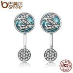 BAMOER 100% 925 Sterling Silver Green Glass ,Dazzling CZ Tree of Life Drop Earrings for Women Brincos Fine <b>Jewelry</b> Bijoux SCE087