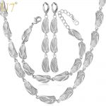 U7 Summer <b>Jewelry</b> Sets For Women Party Gift Sandal Shapes Bracelet Earrings <b>Necklace</b> Set Wholesale S660