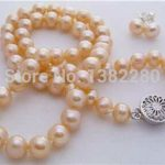 Charming 7-8mm Pink pearl beads necklace set women <b>jewelry</b> necklace earrings <b>making</b> design wholesale