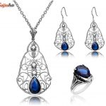 Szjinao Women Fashion 925 Sterling <b>Silver</b> Turkish Jewelry Vintage Sets With Water Drop Sapphire Jewelry Set For Women