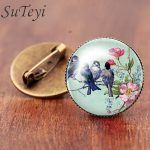 SUTEYI Small bird on the branches <b>Image</b> Brooch Pins Charms Print Cut Art Glass Cabochon Brooches For Party Women <b>Jewelry</b> Gift