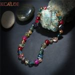 KCALOE Colorful Round Onyx Necklace Women <b>Accessories</b> Fashion Crystal Semi-Precious Stones Chokers Necklaces Beaded <b>Jewelry</b>