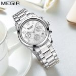 MEGIR Simple Fashion Quartz Chronograph Sport Women Watch Top Brand Luxury <b>Silver</b> Stainless Steel Women's Wrist Watches Ladies