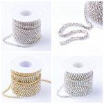 2/2.6/4mm 10yards/roll Brass Rhinestone Strass Metal Chains for <b>Jewelry</b> DIY <b>Making</b> Findings, Rhinestone Cup Chains Crystal AB