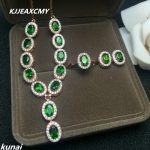 KJJEAXCMY Fine jewelry, 925 pure natural <b>silver</b> inlay zirconium diopside shinv paragraph Wai Suite 3 sets of rings and <b>Earrings</b>