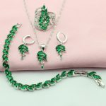 Green Cubic Zirconia <b>Silver</b> Color Jewelry Sets For Women Bridal Jewelry Sets Pendant Earrings <b>Bracelets</b> Crown Ring Free Gift Box
