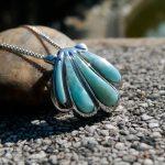 DJ CH Ocean Life <b>Jewelry</b> Sea Shell Larimar Charm Pendant, Sky Blue Color Natural Gemstone Ornament 925 Sterling <b>Silver</b> Pendants