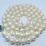 """Fashion 8-9mm beautiful white akoya cultured pearl <b>making</b> Special Necklace 25"""" MY5012"""
