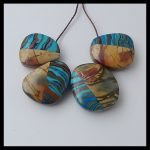 Natural Stone 4pcs Multi-Color Picasso jasper with Rainbow jasper intarsia <b>fashion</b> necklace Pendant Bead,19x17x8mm,11.4g