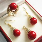 Women's Wedding noble new vermilion red 12mm shell pearl pendant, earring, , ring set real silver mujer fine quality