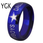 YGK BRAND <b>JEWELRY</b> Hot Sales 8MM Dallas Cowboys Design Men's Blue Domed Edge Tungsten Comfort Fit Ring for <b>Wedding</b>