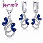 Jemmin Luxury 925 <b>Sterling</b> <b>Silver</b> Necklace Earrings Set For Women Female Party Bule Austrian Crystal <b>Jewelry</b> High Quality