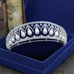 Gorgeous Stunning Clear Cubic Zircon Pearls Wedding Tiara CZ Bridal Queen Princess Pageant Royal Party Crown Women Hair <b>Jewelry</b>