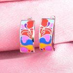 RainMarch Enamel Flower Stud Earrings For Women Engagement 100% 925 Sterling Silver Earring <b>Handmade</b> Enamel Party <b>Jewelry</b>