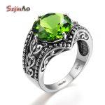 Szjinao Fashion Bulgaria <b>Jewelry</b> Peridot Vintage Charms Women 925 Sterling <b>Silver</b> Beautiful Ring Western Restoring Ancient Royal