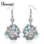 Viennois Gold/Silver Color Leaves Dangle Earrings for Women Crystals Drop Earrings Female Luxury <b>Wedding</b> <b>Jewelry</b>