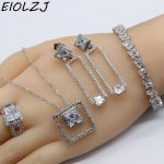 Wholesale White CZ 925 Sterling Silver <b>Jewelry</b> Sets For Women Anniversary Bridal <b>Necklace</b> Sets Choker Ring Earrings Bracelet