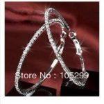 Giemi 30-90MM Mixed Austrian Crystal Stone Sterling Silver Coated Hoop Circle Earring <b>Jewelry</b> Gifts Women Girls Trendy Bijoux