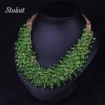 New Fashion Bohemian Green Big Chunky <b>Necklace</b> <b>Jewelry</b> For Women Multilayer African Beads Collar Collier Ethnic Choker <b>Necklace</b>