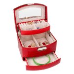 Brand PU Crocodile Jewel Case Box WOmen Leather Three Layers Storage Case Portable Jewel Displayer Ring <b>Necklace</b> <b>Jewelry</b> Case