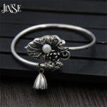 Fyla Mode 925 Sterling <b>Silver</b> Lotus Seedpod Pendant Charms Lucky <b>Silver</b> Cuff <b>Bracelet</b> Handmade Bangle Lotus Jewelry 58mm 23G