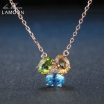 Lamoon Oval Yellow Citrine Green Peridot Blue Topaz 925 Sterling <b>Silver</b> Chain Pendant <b>Necklace</b> Rose Gold Color S925 NI051