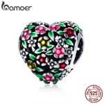 BAMOER Summer Collection 100% 925 Sterling Silver Valley Of Flowers Heart Charm Beads fit Women Bracelet DIY <b>Jewelry</b> Gift SCC646