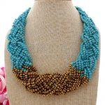"""N072809 20"""" 12 Strands Golden Crystal Necklace"""