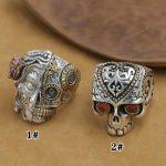 NEW! <b>Handmade</b> 925 Silver Skull Ring Man Ring VintageSterling Silver Skull Ring Pure Silver PUNK Ring <b>Jewelry</b> Gift