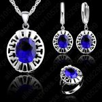 JEXXI High Quality Blue CZ Crystal Wedding <b>Necklace</b> &Earring &Ring 3 Set Real 925 Silver Pendant Jewlery Set Gift Wholesale