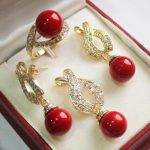 real Women's Wedding shipping> > 12mm Red Shell Pearl Pendant Necklace Earrings Ring Set